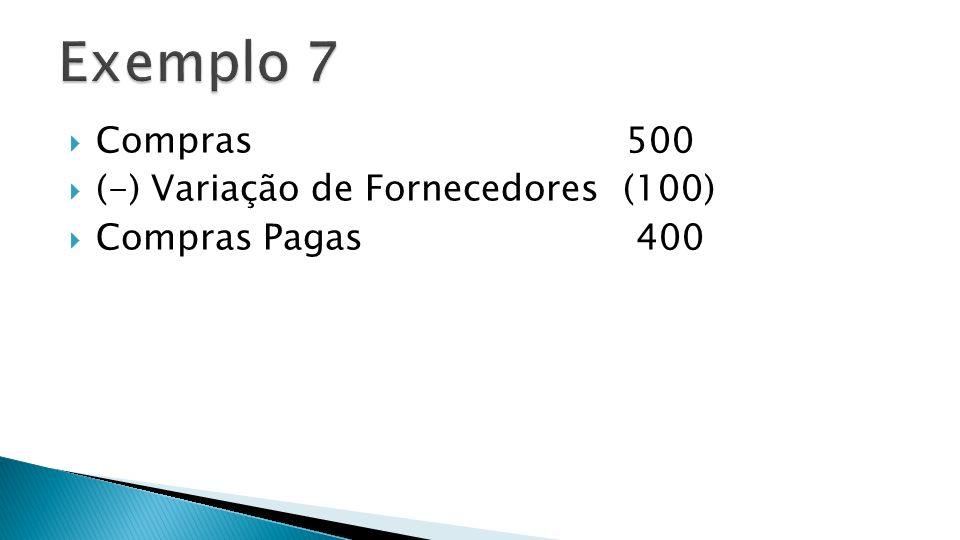 Compras 500 (-) Variação de Fornecedores (100) Compras Pagas 400