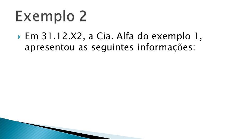 Em 31.12.X2, a Cia. Alfa do exemplo 1, apresentou as seguintes informações: