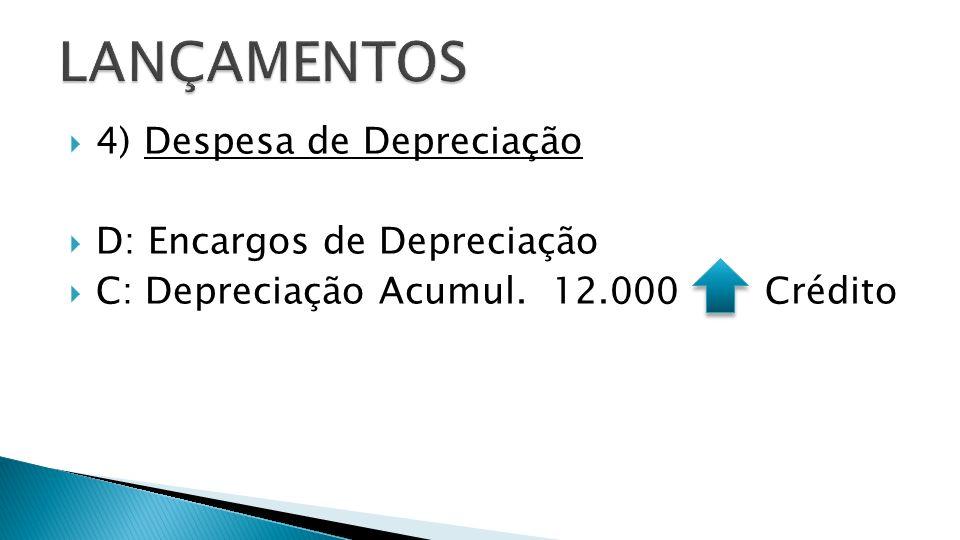 4) Despesa de Depreciação D: Encargos de Depreciação C: Depreciação Acumul. 12.000 Crédito