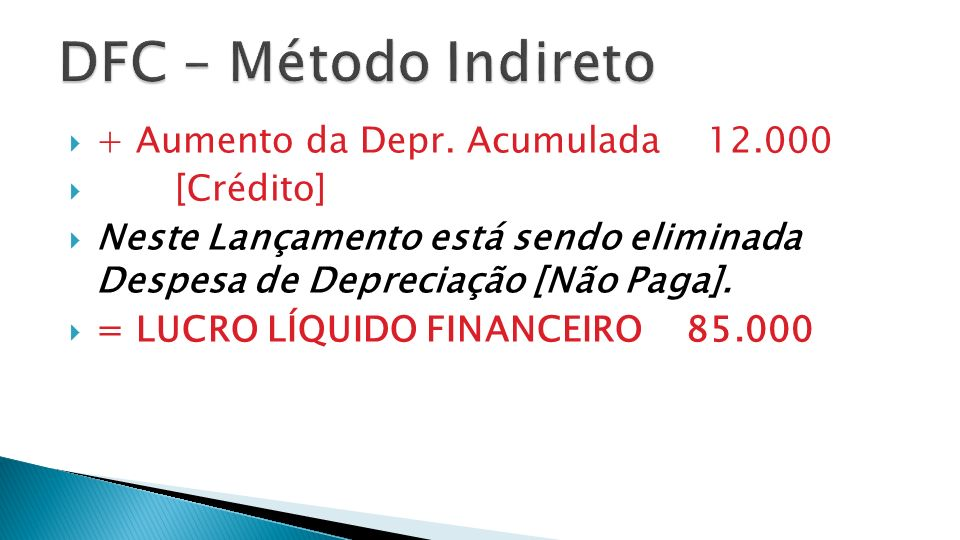 + Aumento da Depr. Acumulada 12.000 [Crédito] Neste Lançamento está sendo eliminada Despesa de Depreciação [Não Paga]. = LUCRO LÍQUIDO FINANCEIRO 85.0