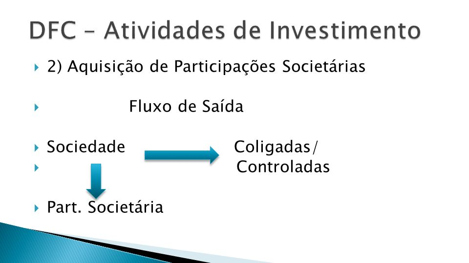 2) Aquisição de Participações Societárias Fluxo de Saída Sociedade Coligadas/ Controladas Part. Societária
