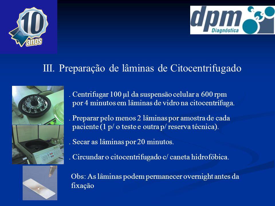 III. Preparação de lâminas de Citocentrifugado. Centrifugar 100 μl da suspensão celular a 600 rpm por 4 minutos em lâminas de vidro na citocentrífuga.
