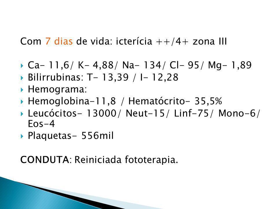 Com 7 dias de vida: icterícia ++/4+ zona III Ca- 11,6/ K- 4,88/ Na- 134/ Cl- 95/ Mg- 1,89 Bilirrubinas: T- 13,39 / I- 12,28 Hemograma: Hemoglobina-11,
