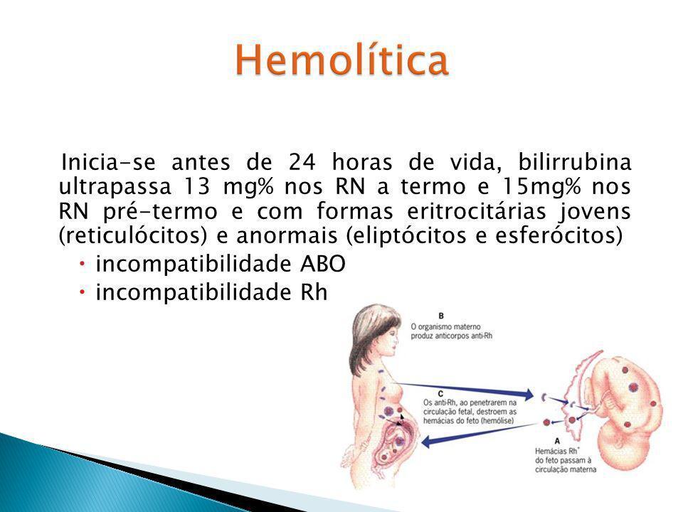 Inicia-se antes de 24 horas de vida, bilirrubina ultrapassa 13 mg% nos RN a termo e 15mg% nos RN pré-termo e com formas eritrocitárias jovens (reticul