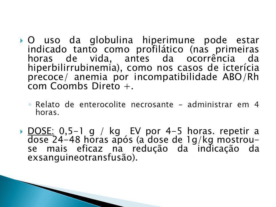 O uso da globulina hiperimune pode estar indicado tanto como profilático (nas primeiras horas de vida, antes da ocorrência da hiperbilirrubinemia), co