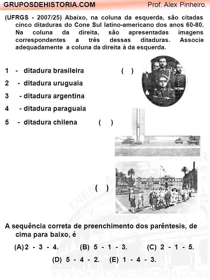 GRUPOSDEHISTORIA.COM Prof. Alex Pinheiro. (UFRGS - 2007/25) Abaixo, na coluna da esquerda, são citadas cinco ditaduras do Cone Sul latino-americano do