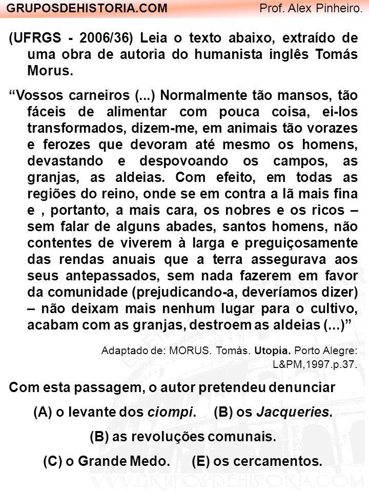 GRUPOSDEHISTORIA.COM Prof. Alex Pinheiro. (UFRGS - 2006/36) Leia o texto abaixo, extraído de uma obra de autoria do humanista inglês Tomás Morus. Voss