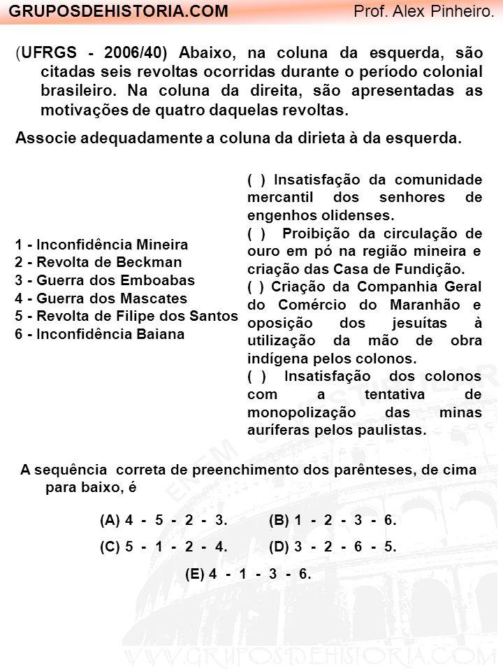 GRUPOSDEHISTORIA.COM Prof. Alex Pinheiro. (UFRGS - 2006/40) Abaixo, na coluna da esquerda, são citadas seis revoltas ocorridas durante o período colon
