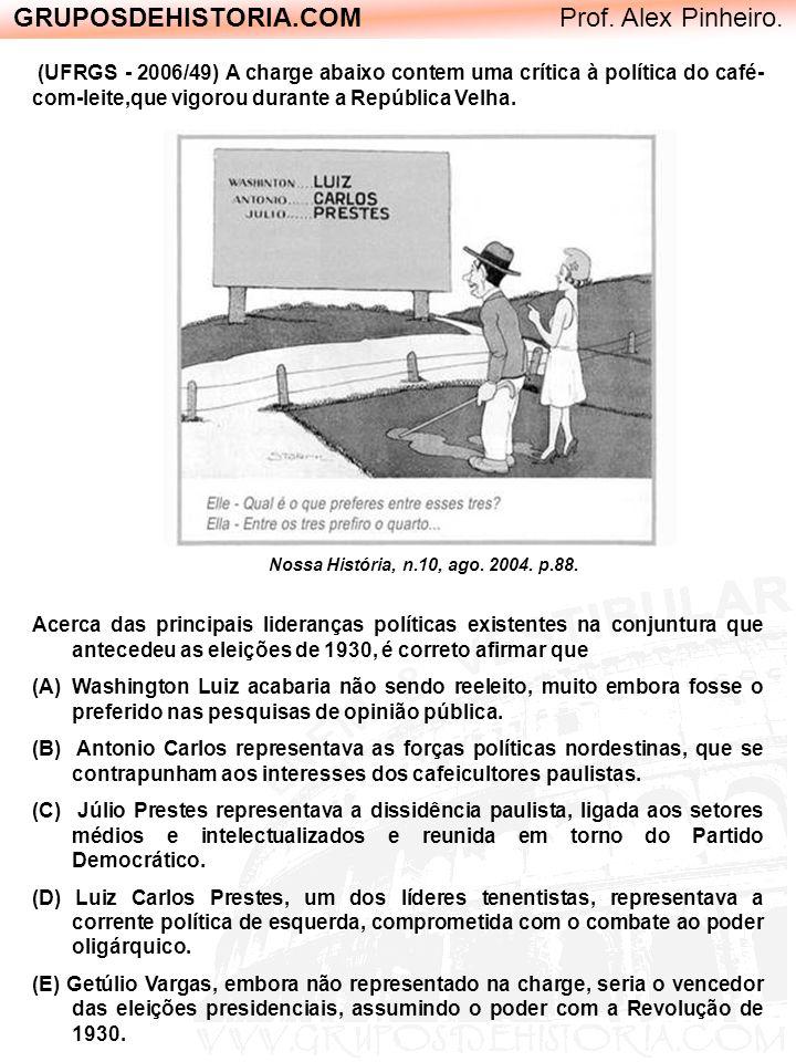 GRUPOSDEHISTORIA.COM Prof. Alex Pinheiro. Nossa História, n.10, ago. 2004. p.88. (UFRGS - 2006/49) A charge abaixo contem uma crítica à política do ca