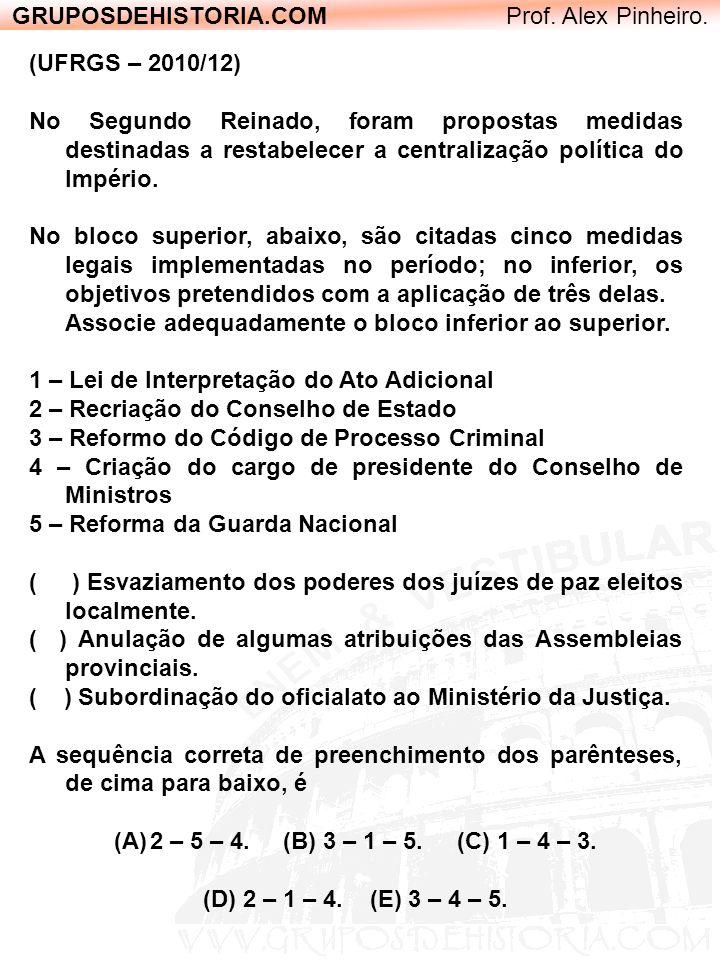 GRUPOSDEHISTORIA.COM Prof. Alex Pinheiro. (UFRGS – 2010/12) No Segundo Reinado, foram propostas medidas destinadas a restabelecer a centralização polí