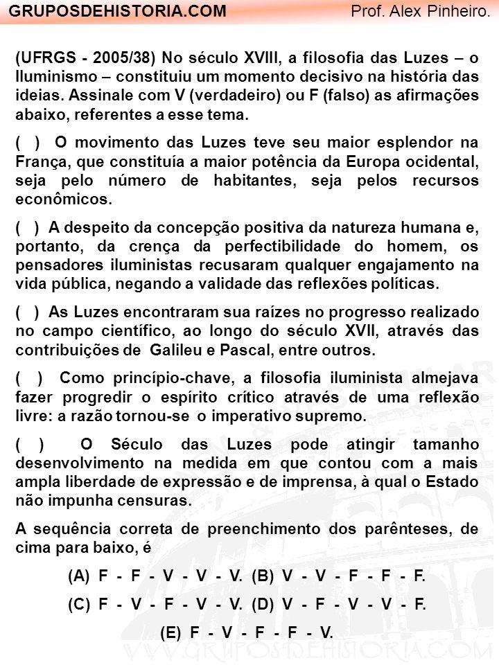 GRUPOSDEHISTORIA.COM Prof. Alex Pinheiro. (UFRGS - 2005/38) No século XVIII, a filosofia das Luzes – o Iluminismo – constituiu um momento decisivo na