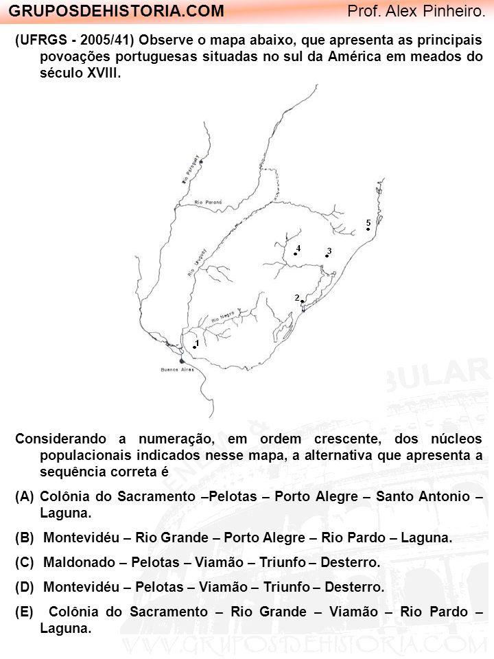 GRUPOSDEHISTORIA.COM Prof. Alex Pinheiro. (UFRGS - 2005/41) Observe o mapa abaixo, que apresenta as principais povoações portuguesas situadas no sul d