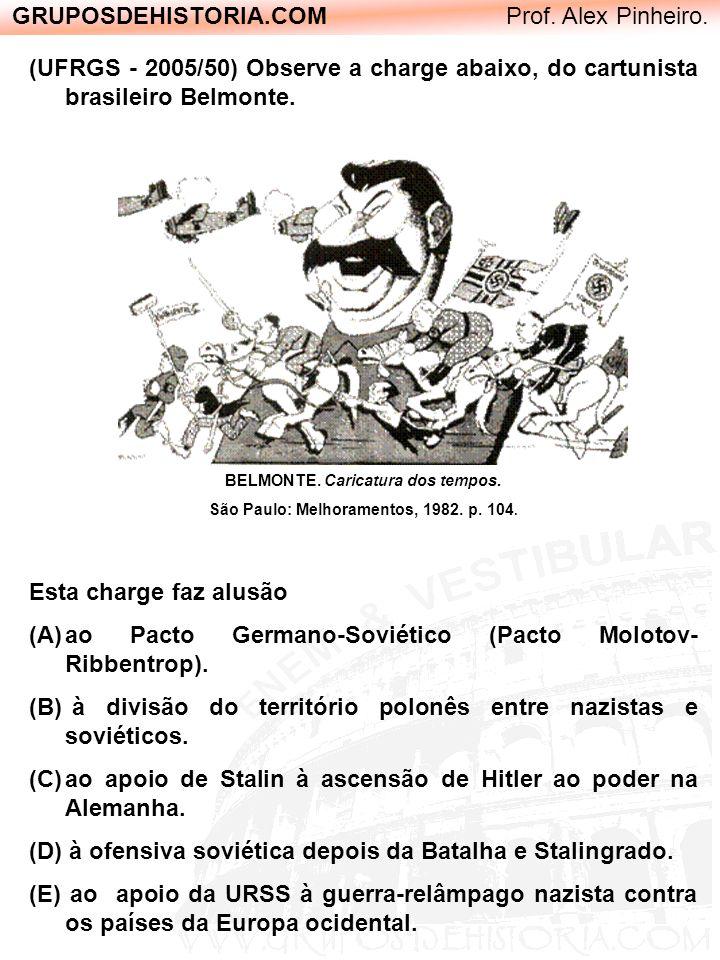 GRUPOSDEHISTORIA.COM Prof. Alex Pinheiro. (UFRGS - 2005/50) Observe a charge abaixo, do cartunista brasileiro Belmonte. BELMONTE. Caricatura dos tempo