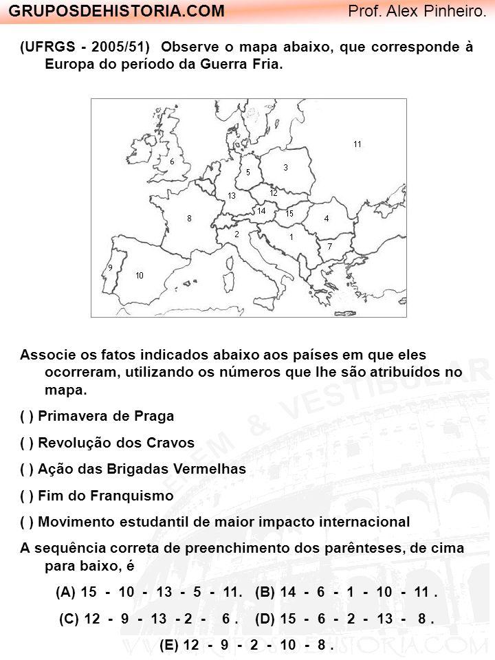 GRUPOSDEHISTORIA.COM Prof. Alex Pinheiro. (UFRGS - 2005/51) Observe o mapa abaixo, que corresponde à Europa do período da Guerra Fria. Associe os fato