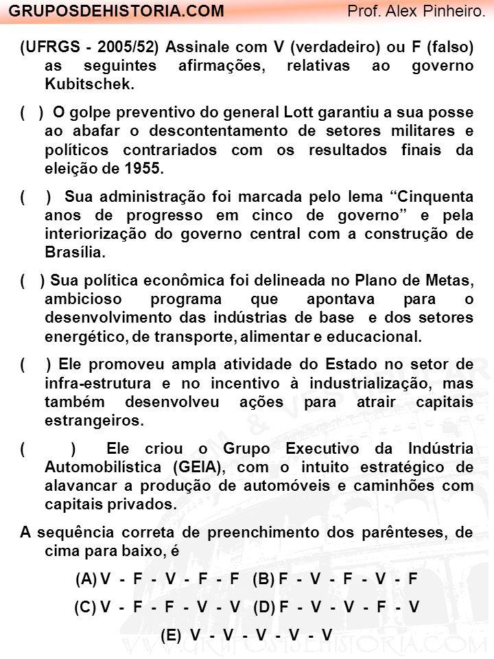 GRUPOSDEHISTORIA.COM Prof. Alex Pinheiro. (UFRGS - 2005/52) Assinale com V (verdadeiro) ou F (falso) as seguintes afirmações, relativas ao governo Kub
