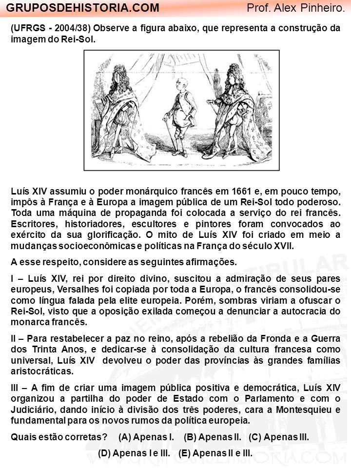GRUPOSDEHISTORIA.COM Prof. Alex Pinheiro. (UFRGS - 2004/38) Observe a figura abaixo, que representa a construção da imagem do Rei-Sol. Luís XIV assumi