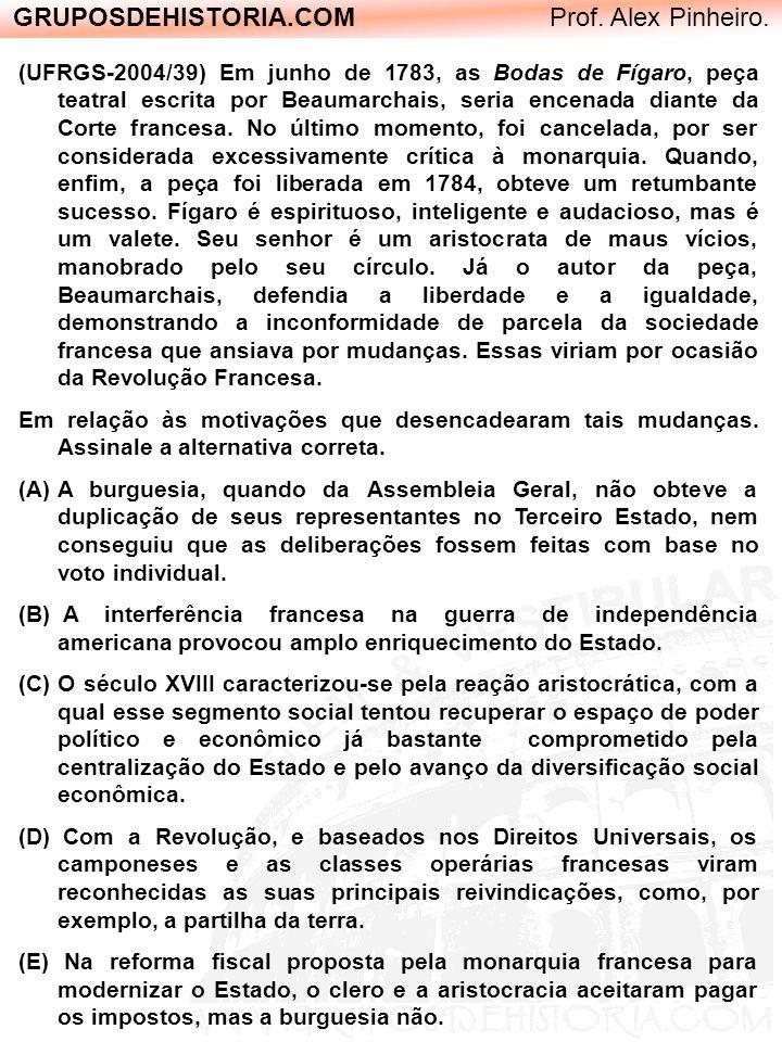 GRUPOSDEHISTORIA.COM Prof. Alex Pinheiro. (UFRGS-2004/39) Em junho de 1783, as Bodas de Fígaro, peça teatral escrita por Beaumarchais, seria encenada