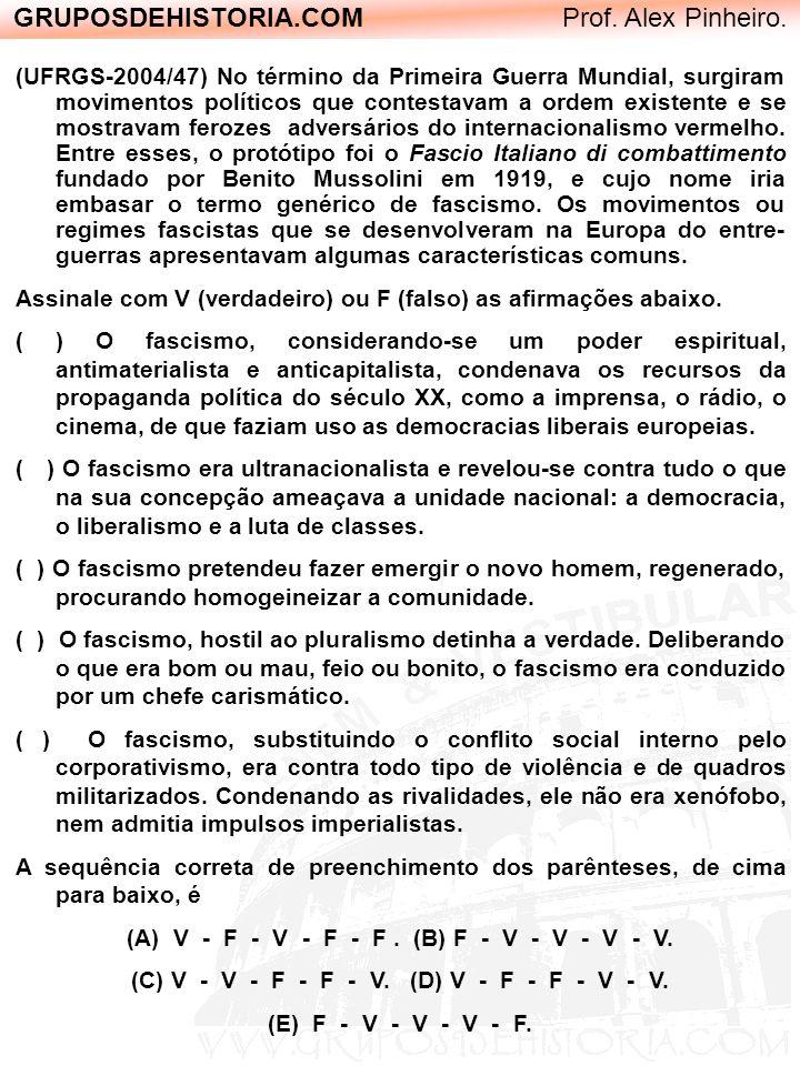 GRUPOSDEHISTORIA.COM Prof. Alex Pinheiro. (UFRGS-2004/47) No término da Primeira Guerra Mundial, surgiram movimentos políticos que contestavam a ordem