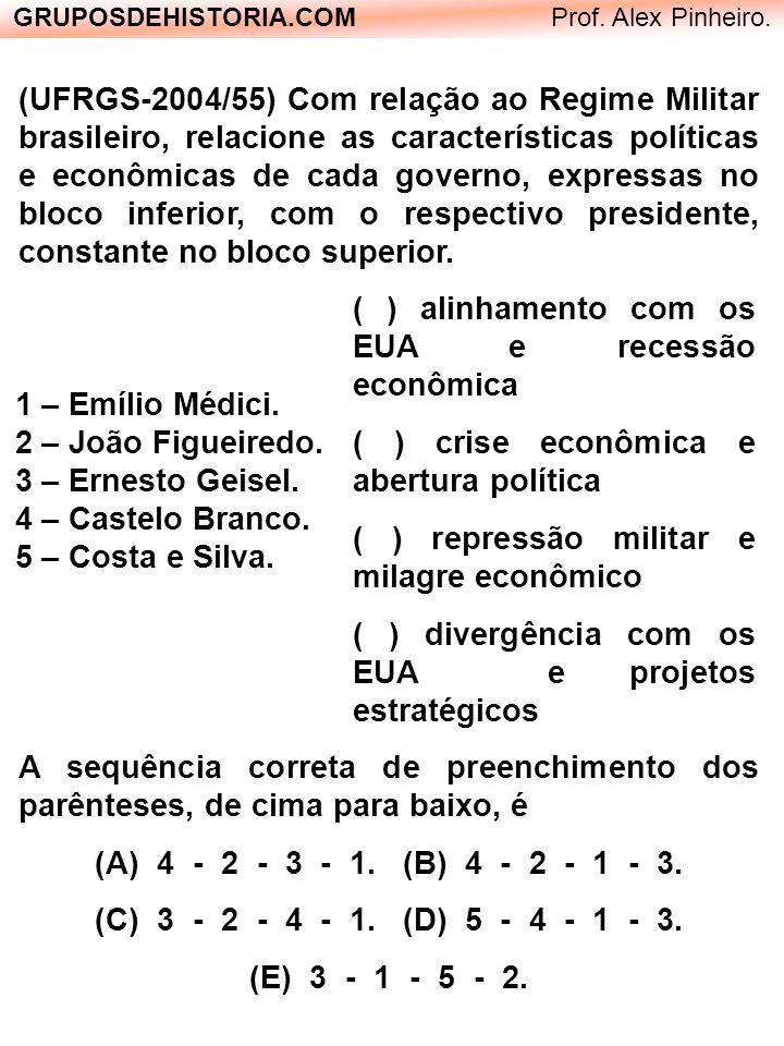 (UFRGS-2004/55) Com relação ao Regime Militar brasileiro, relacione as características políticas e econômicas de cada governo, expressas no bloco infe