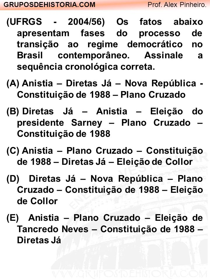 GRUPOSDEHISTORIA.COM Prof. Alex Pinheiro. (UFRGS - 2004/56) Os fatos abaixo apresentam fases do processo de transição ao regime democrático no Brasil