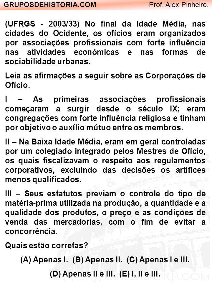 GRUPOSDEHISTORIA.COM Prof. Alex Pinheiro. (UFRGS - 2003/33) No final da Idade Média, nas cidades do Ocidente, os ofícios eram organizados por associaç