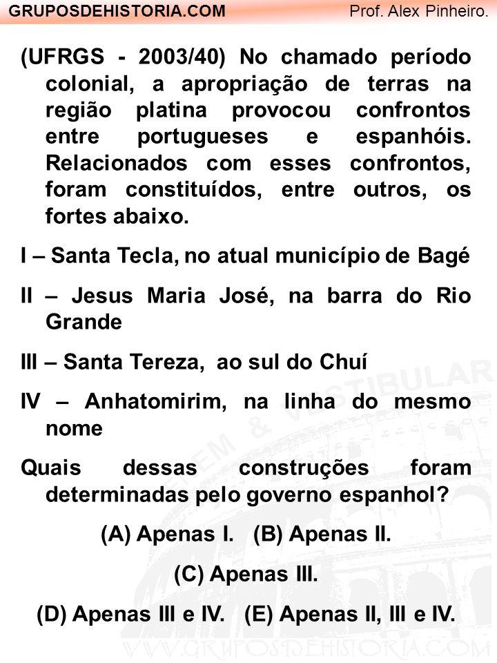 GRUPOSDEHISTORIA.COM Prof. Alex Pinheiro. (UFRGS - 2003/40) No chamado período colonial, a apropriação de terras na região platina provocou confrontos