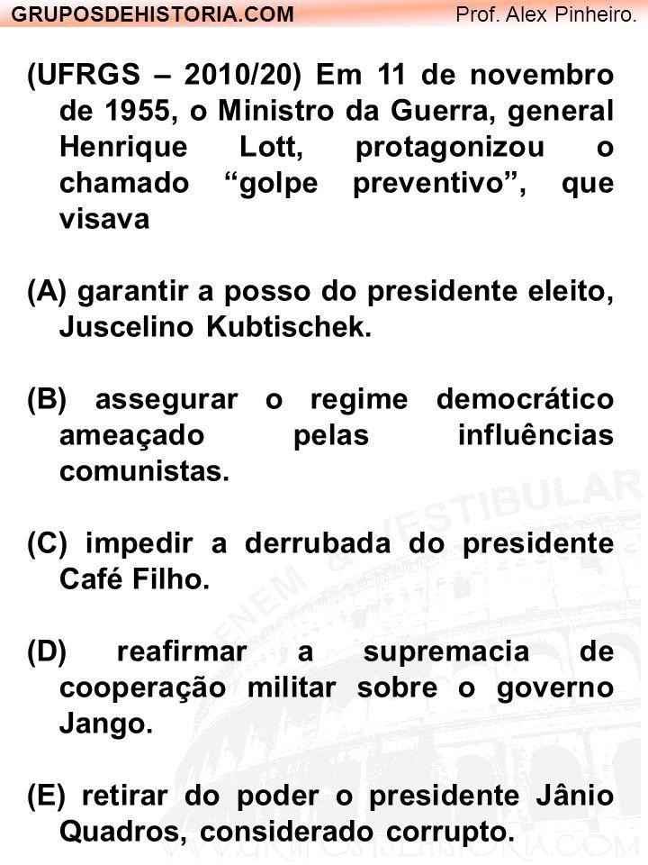 GRUPOSDEHISTORIA.COM Prof. Alex Pinheiro. (UFRGS – 2010/20) Em 11 de novembro de 1955, o Ministro da Guerra, general Henrique Lott, protagonizou o cha