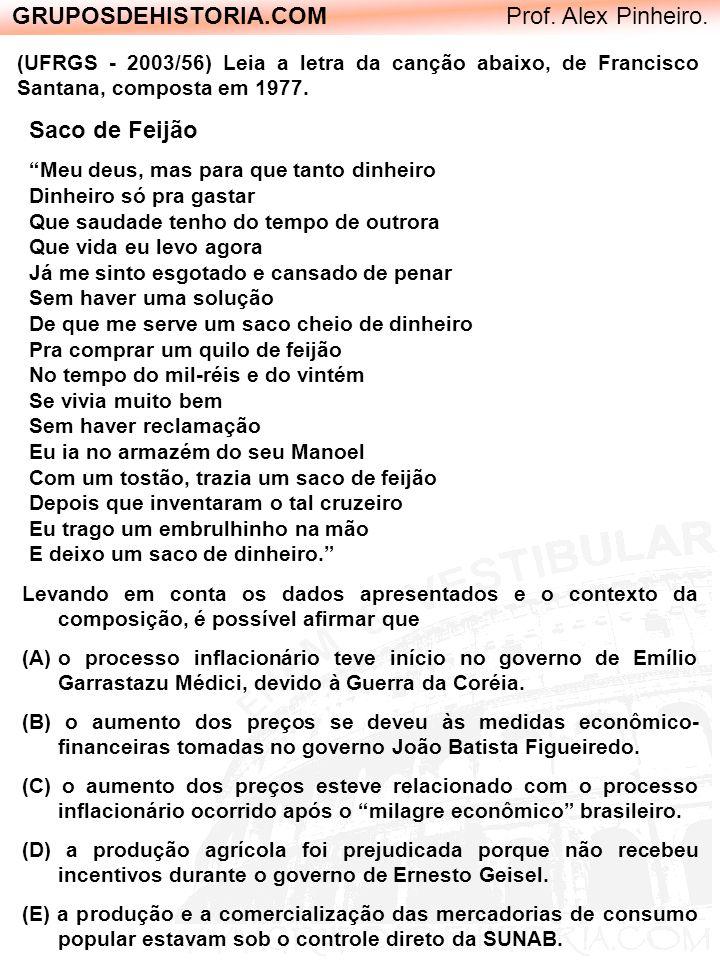 GRUPOSDEHISTORIA.COM Prof. Alex Pinheiro. (UFRGS - 2003/56) Leia a letra da canção abaixo, de Francisco Santana, composta em 1977. Saco de Feijão Meu