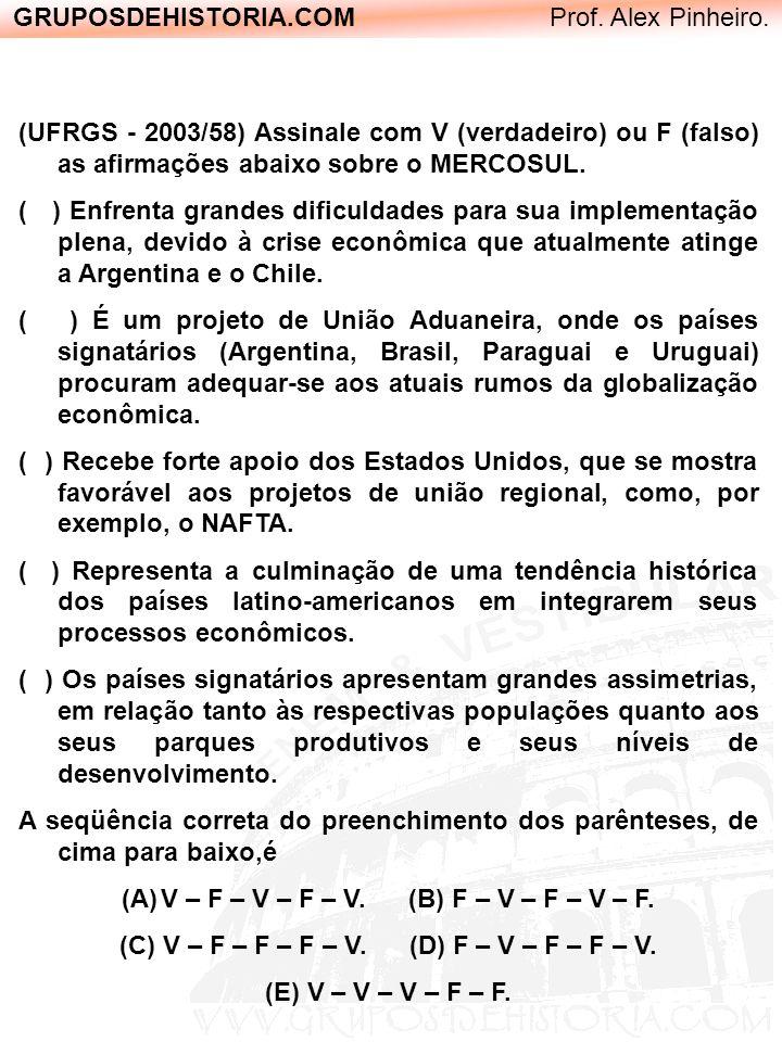 GRUPOSDEHISTORIA.COM Prof. Alex Pinheiro. (UFRGS - 2003/58) Assinale com V (verdadeiro) ou F (falso) as afirmações abaixo sobre o MERCOSUL. ( ) Enfren