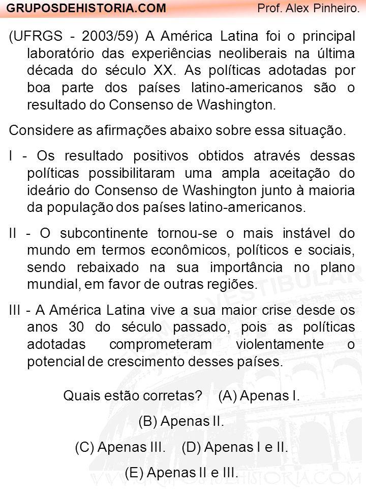 GRUPOSDEHISTORIA.COM Prof. Alex Pinheiro. (UFRGS - 2003/59) A América Latina foi o principal laboratório das experiências neoliberais na última décad