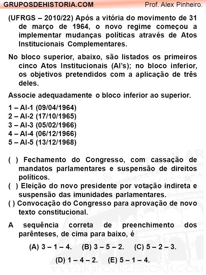 GRUPOSDEHISTORIA.COM Prof. Alex Pinheiro. (UFRGS – 2010/22) Após a vitória do movimento de 31 de março de 1964, o novo regime começou a implementar mu
