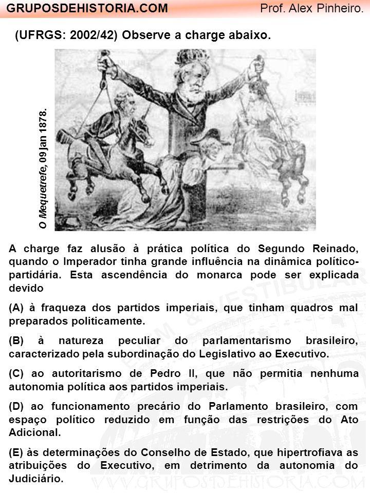 GRUPOSDEHISTORIA.COM Prof. Alex Pinheiro. (UFRGS: 2002/42) Observe a charge abaixo. O Mequetrefe, 09 jan 1878. A charge faz alusão à prática política