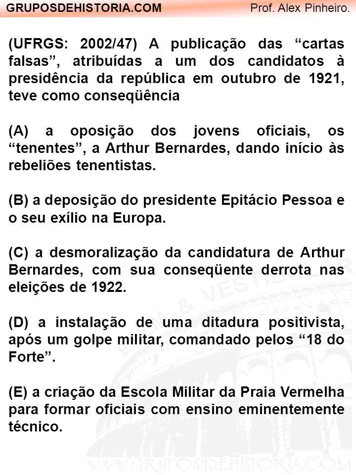 GRUPOSDEHISTORIA.COM Prof. Alex Pinheiro. (UFRGS: 2002/47) A publicação das cartas falsas, atribuídas a um dos candidatos à presidência da república e