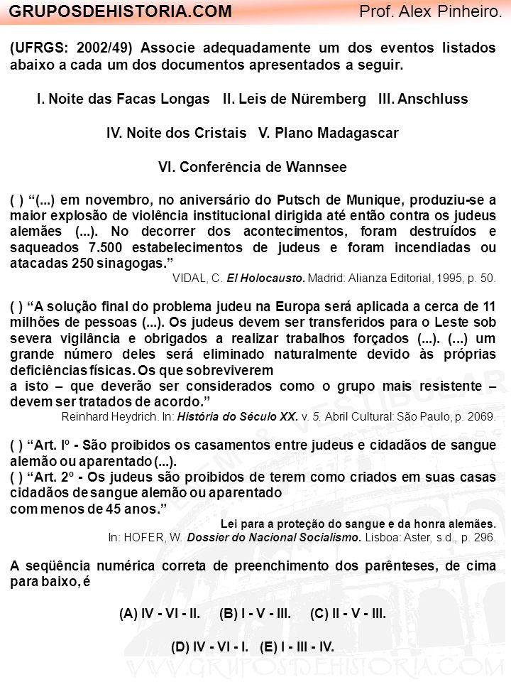 GRUPOSDEHISTORIA.COM Prof. Alex Pinheiro. (UFRGS: 2002/49) Associe adequadamente um dos eventos listados abaixo a cada um dos documentos apresentados