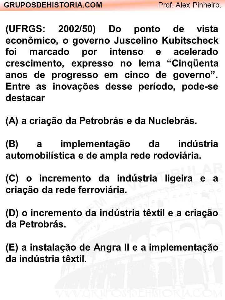 GRUPOSDEHISTORIA.COM Prof. Alex Pinheiro. (UFRGS: 2002/50) Do ponto de vista econômico, o governo Juscelino Kubitscheck foi marcado por intenso e acel