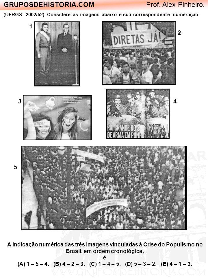 GRUPOSDEHISTORIA.COM Prof. Alex Pinheiro. (UFRGS: 2002/52) Considere as imagens abaixo e sua correspondente numeração. A indicação numérica das três i