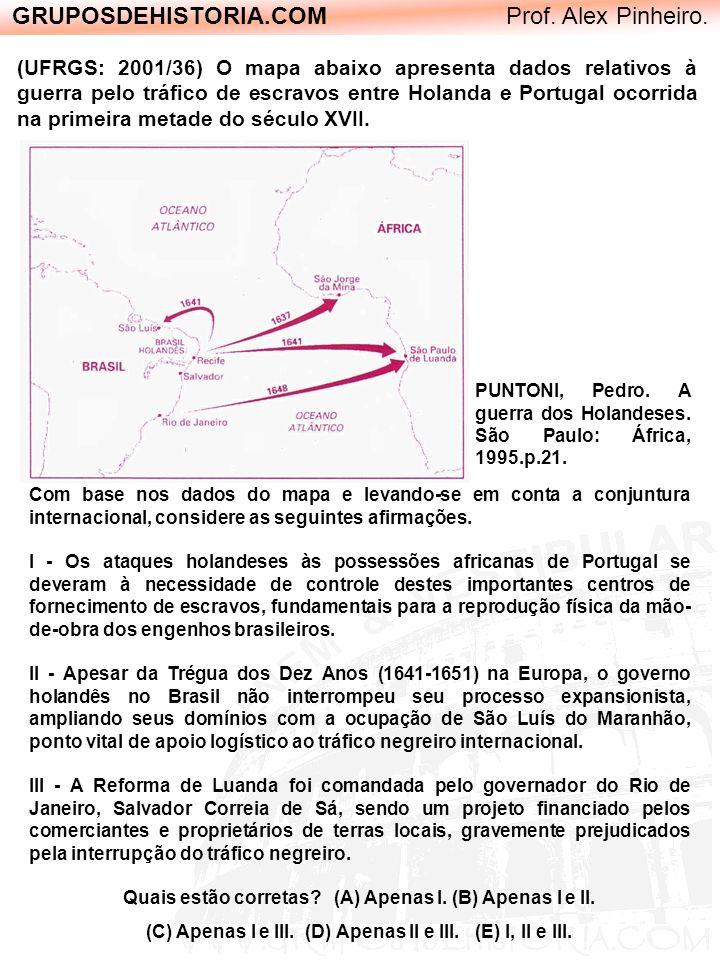 GRUPOSDEHISTORIA.COM Prof. Alex Pinheiro. (UFRGS: 2001/36) O mapa abaixo apresenta dados relativos à guerra pelo tráfico de escravos entre Holanda e P