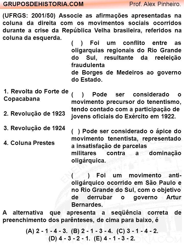 GRUPOSDEHISTORIA.COM Prof. Alex Pinheiro. (UFRGS: 2001/50) Associe as afirmações apresentadas na coluna da direita com os movimentos sociais ocorridos