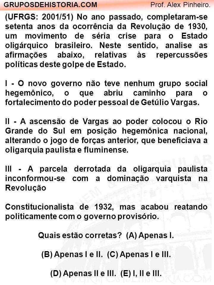 GRUPOSDEHISTORIA.COM Prof. Alex Pinheiro. (UFRGS: 2001/51) No ano passado, completaram-se setenta anos da ocorrência da Revolução de 1930, um moviment