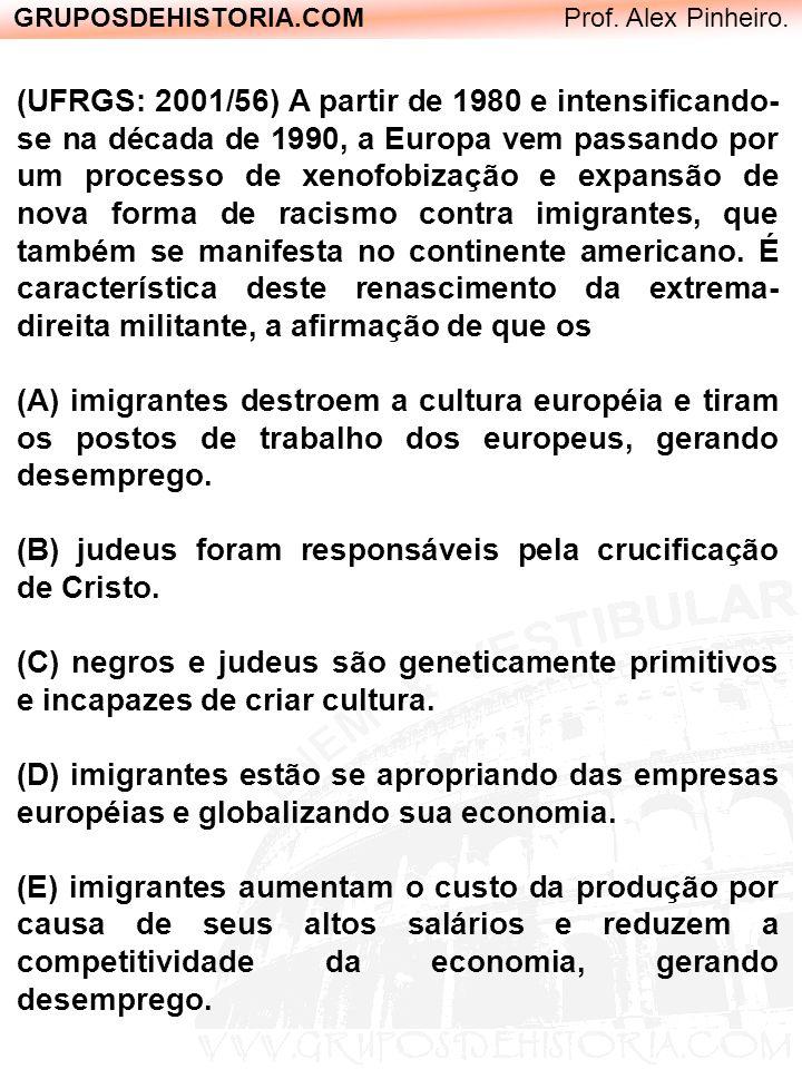 GRUPOSDEHISTORIA.COM Prof. Alex Pinheiro. (UFRGS: 2001/56) A partir de 1980 e intensificando- se na década de 1990, a Europa vem passando por um proce