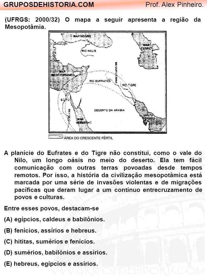 GRUPOSDEHISTORIA.COM Prof. Alex Pinheiro. (UFRGS: 2000/32) O mapa a seguir apresenta a região da Mesopotâmia. A planície do Eufrates e do Tigre não co