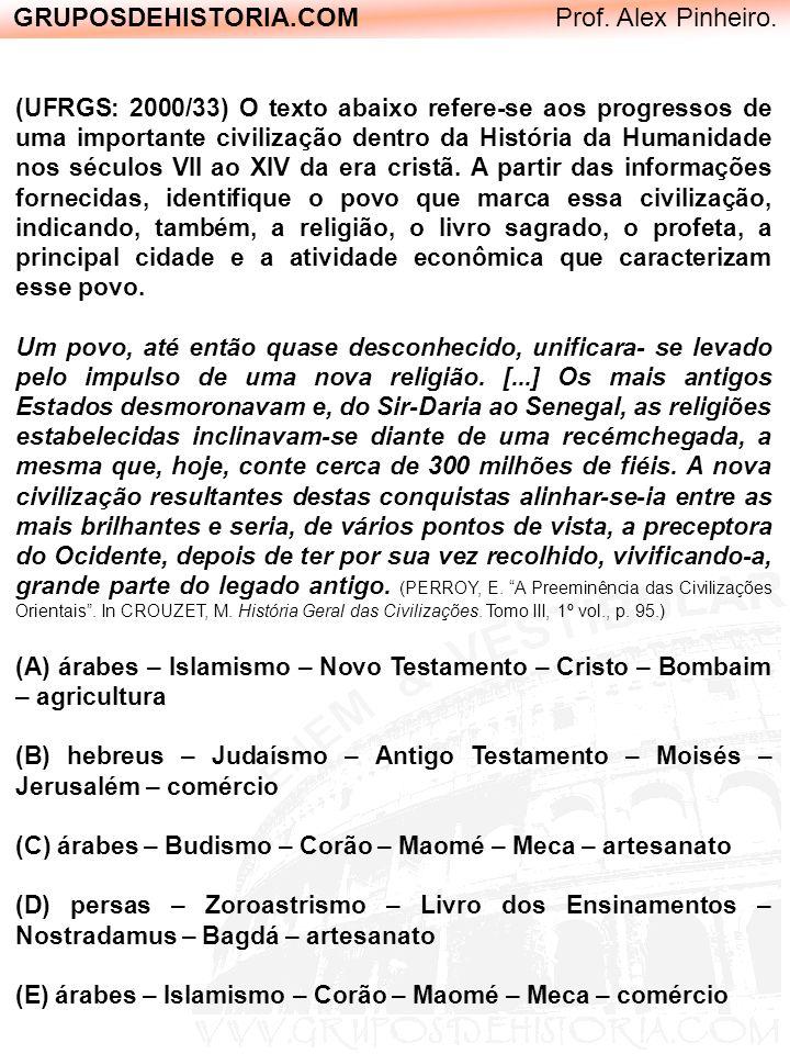 GRUPOSDEHISTORIA.COM Prof. Alex Pinheiro. (UFRGS: 2000/33) O texto abaixo refere-se aos progressos de uma importante civilização dentro da História da