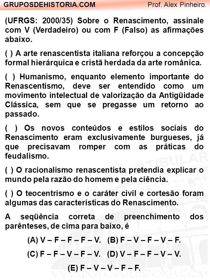 GRUPOSDEHISTORIA.COM Prof. Alex Pinheiro. (UFRGS: 2000/35) Sobre o Renascimento, assinale com V (Verdadeiro) ou com F (Falso) as afirmações abaixo. (