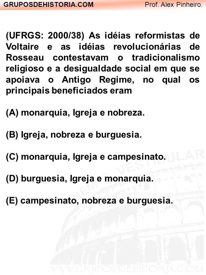 GRUPOSDEHISTORIA.COM Prof. Alex Pinheiro. (UFRGS: 2000/38) As idéias reformistas de Voltaire e as idéias revolucionárias de Rosseau contestavam o trad