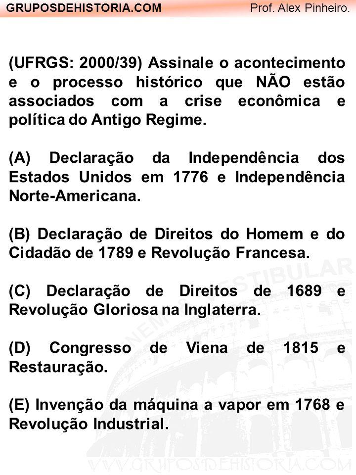 GRUPOSDEHISTORIA.COM Prof. Alex Pinheiro. (UFRGS: 2000/39) Assinale o acontecimento e o processo histórico que NÃO estão associados com a crise econôm