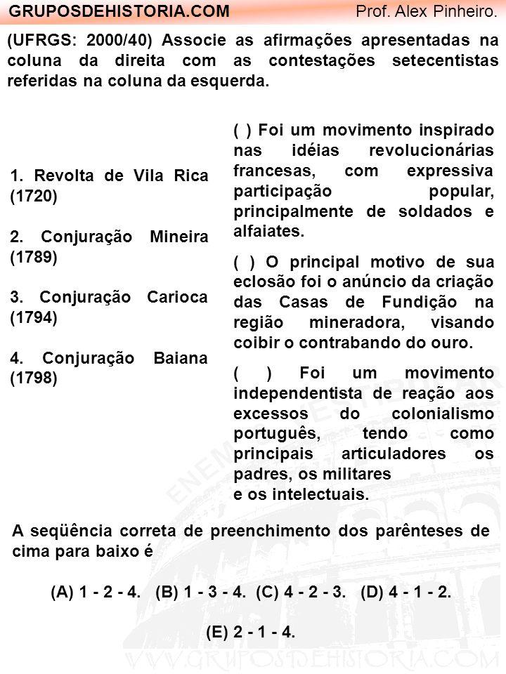 GRUPOSDEHISTORIA.COM Prof. Alex Pinheiro. (UFRGS: 2000/40) Associe as afirmações apresentadas na coluna da direita com as contestações setecentistas r