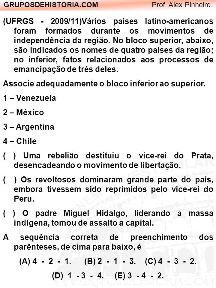 GRUPOSDEHISTORIA.COM Prof. Alex Pinheiro. (UFRGS - 2009/11)Vários países latino-americanos foram formados durante os movimentos de independência da re