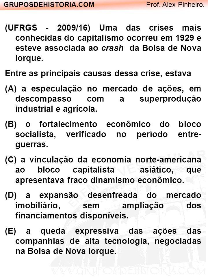 GRUPOSDEHISTORIA.COM Prof. Alex Pinheiro. (UFRGS - 2009/16) Uma das crises mais conhecidas do capitalismo ocorreu em 1929 e esteve associada ao crash
