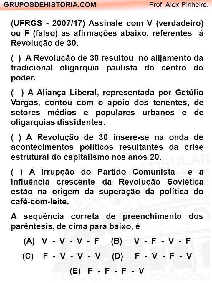 GRUPOSDEHISTORIA.COM Prof. Alex Pinheiro. (UFRGS - 2007/17) Assinale com V (verdadeiro) ou F (falso) as afirmações abaixo, referentes à Revolução de 3