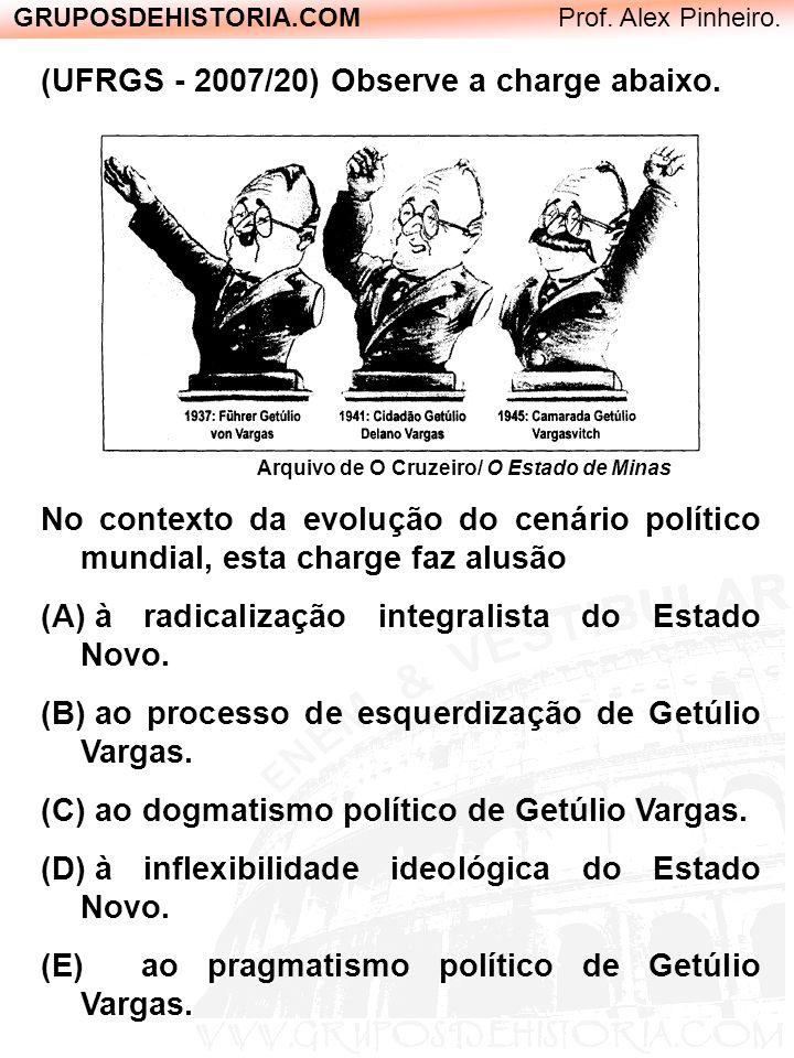 GRUPOSDEHISTORIA.COM Prof. Alex Pinheiro. (UFRGS - 2007/20) Observe a charge abaixo. Arquivo de O Cruzeiro/ O Estado de Minas No contexto da evolução